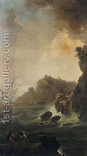 Stormy Coastal Landscape With Fishermen In The Foreground by (after)  Claude-Joseph Vernet - Reproduction Oil Painting