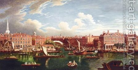 View Of The Thames At The Joining Of The River Fleet by (after) Samuel Wale - Reproduction Oil Painting