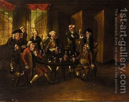 Gentlemen Drinking Wine In Their Club by (after) Thomas Patch - Reproduction Oil Painting