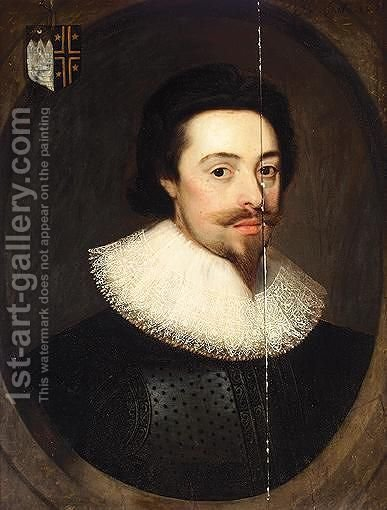 Portrait Of Sir Thomas Reynell (1588-1665) by (after) Johnson, Cornelius I - Reproduction Oil Painting