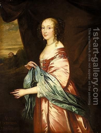 Portrait Of Anne, Countess Of Morton by (after) Dyck, Sir Anthony van - Reproduction Oil Painting