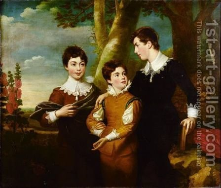 Portrait Of The Three Fitzgerald Brothers by (after) Ramsay Richard Reinagle - Reproduction Oil Painting