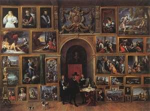 Famous paintings of Domestic Animals: Archduke Leopold Wilhelm of Austria in his Gallery 1651
