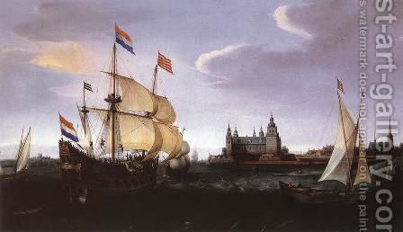 Arrival of a Dutch Three-master at Schloss Kronberg 1614 by Hendrick Cornelisz. Vroom - Reproduction Oil Painting