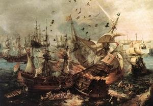 Famous paintings of Ships & Boats: Battle Of Gibraltar