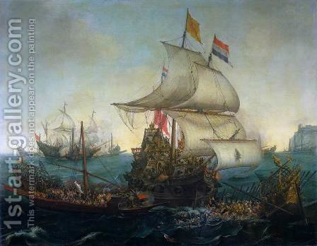 Dutch Ships Ramming Spanish Galleys off the Flemish Coast in October 1602,   1617 by Hendrick Cornelisz. Vroom - Reproduction Oil Painting