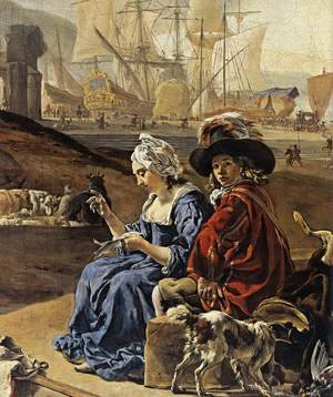Famous paintings of Dogs: An Italian Seaport (detail) 1666