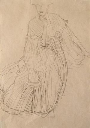Reproduction oil paintings - Gustav Klimt - Study For The Portrait Of Adele Bloch-Bauer Seated, From The Front, Her Right Hand Supporting Her Chin