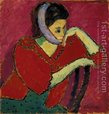 Frau Mit Kopfbinde (Woman With Bandeau) by Alexei Jawlensky - Reproduction Oil Painting