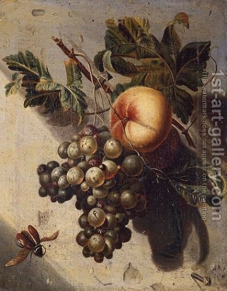 Still Life With Grapes And A Peach by (after) Willem Grasdorp - Reproduction Oil Painting