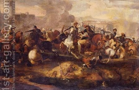 Cavalry Skirmish by (after) Aniello Falcone - Reproduction Oil Painting