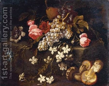 Still Life Of Fruit And Flowers Resting On A Stone Ledge With Mushrooms In The Foreground by (after) Abraham Brueghel - Reproduction Oil Painting