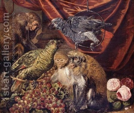 Monkeys And Parrots With A Bunch Of Grapes And Flowers by Italian School - Reproduction Oil Painting