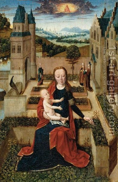 The Virgin Seated On A Low Wall Picking A Flower For The Christ Child, Saint Agnes, Saint Dorothea And Another Female Saint by Italian Unknown Master - Reproduction Oil Painting