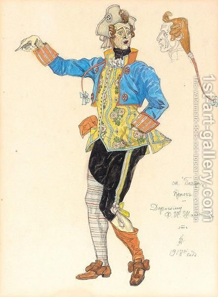 Costume Design For Fyodor Chaliapin In The Role Of Tonio The Clown From The Opera 'Pagliacci' by Aleksandr Jakovlevic Golovin - Reproduction Oil Painting