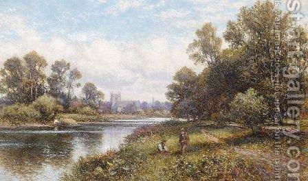 Fishing On The Thames by Alfred Glendening - Reproduction Oil Painting