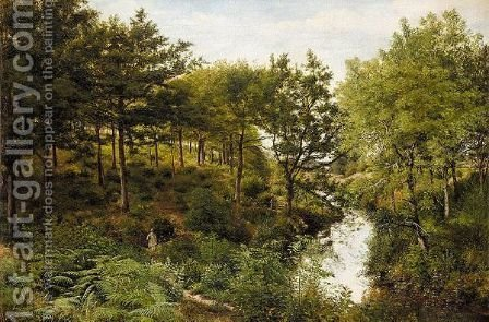 The Woodland Stream by (after) George William Mote - Reproduction Oil Painting