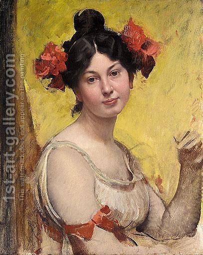 Portrait Of A Young Woman by Adolf Hiremy-Hirschl - Reproduction Oil Painting