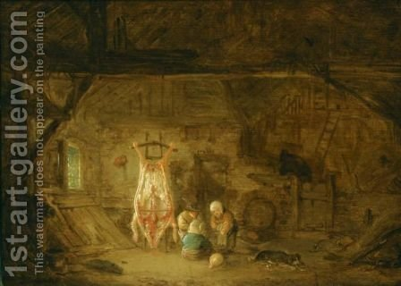 A Barn Interior With Three Children Playing With A Pig's Bladder by Isaack Jansz. van Ostade - Reproduction Oil Painting