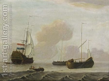 A Dutch Ship And Two Fishing Boats In A Moderate Breeze At Sea by (after) Adam Silo - Reproduction Oil Painting