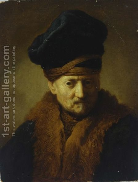 A Portrait Of An Old Man, Bust Length, Wearing A Fur-Lined Coat And A Black Kolpak by (after) Harmenszoon Van Rijn Rembrandt - Reproduction Oil Painting