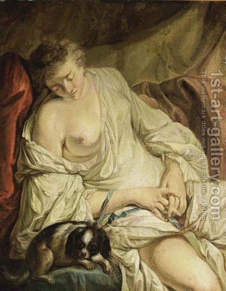 A Half-Naked Lady Reclining Together With A Dog by (after) Jean Baptiste Henri Deshayes De Colleville - Reproduction Oil Painting