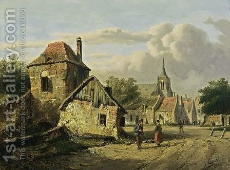 A Town View In Summer by Adrianus Eversen - Reproduction Oil Painting