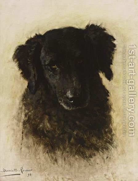 A Dog by Henriette Ronner-Knip - Reproduction Oil Painting