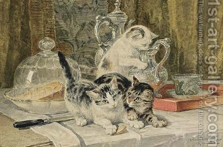 Lunch Time by Henriette Ronner-Knip - Reproduction Oil Painting