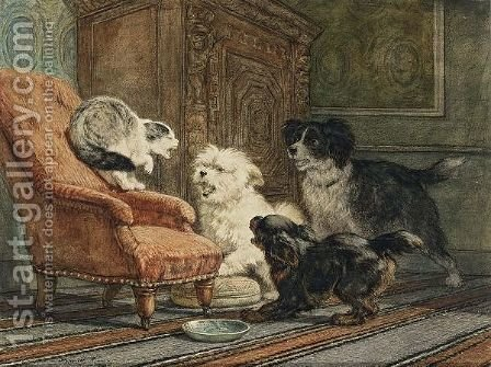 The Intruder by Henriette Ronner-Knip - Reproduction Oil Painting