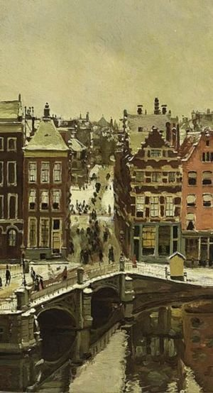 Reproduction oil paintings - Alexander Friedrich Werner - Amsterdam Im Schnee