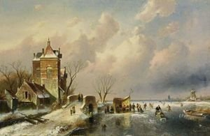 Famous paintings of Ice skating: Skaters On The Ice Near A  A´koek En Zopie A´