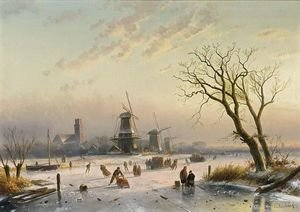 Famous paintings of Ice skating: Skaters By A Koek En Zopie, Mills In The Distance