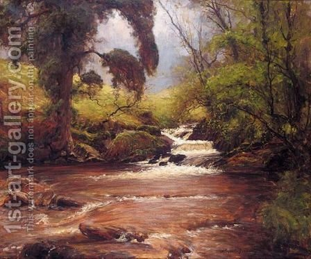 A Woodland Stream by Alexander Brownlie Docharty - Reproduction Oil Painting