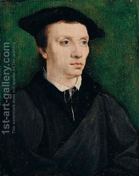 Portrait Of A Man, Bust Length, Wearing Black, With A Black Cap by (after) Corneille De Lyon - Reproduction Oil Painting