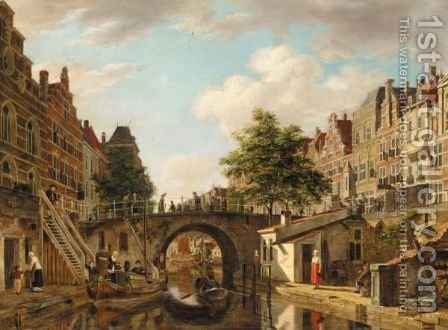 A View Of Utrecht, With A Barge And A Rowing Boat On A Canal Before A Bridge by (after) Jan Hendrik Verheyen - Reproduction Oil Painting