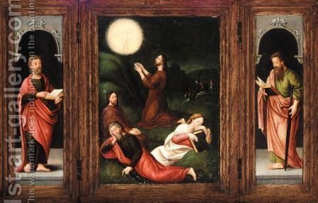 A Triptych - Central Panel The Agony In The Garden - Left Wing Saint Peter - Right Wing Saint Paul by (after) Marcellus Coffermans - Reproduction Oil Painting