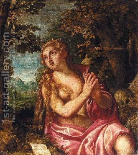 Mary Magdalene In Prayer by (after) Paolo Veronese (Caliari) - Reproduction Oil Painting