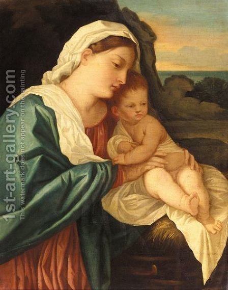 The Madonna And Child 4 by (after) Tiziano Vecellio (Titian) - Reproduction Oil Painting