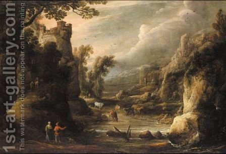 A River Landscape With A Drovers And Cattle by (after)  David The Younger Teniers - Reproduction Oil Painting