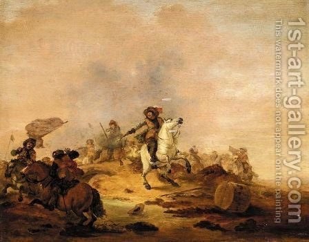 A Cavalry Battle by (after) Herman Van Lin - Reproduction Oil Painting