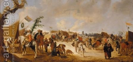 An Army Encampment Before A Church by (after)  Palamedes Palamedesz. (Stevaerts, Stevens) - Reproduction Oil Painting