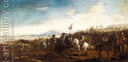 A Cavalry Engagement With A Hilltop Church Beyond by (after) Francesco Simonini - Reproduction Oil Painting