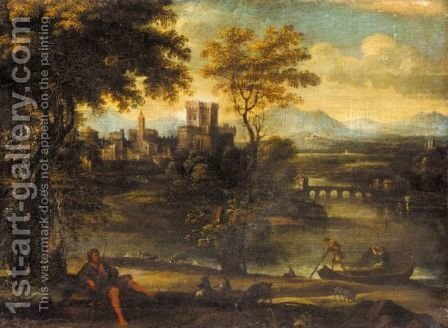 A Classical Landscape With A Shepherd And Fisherman, A Town Beyond by (after) Pietro Paolo Bonzi - Reproduction Oil Painting