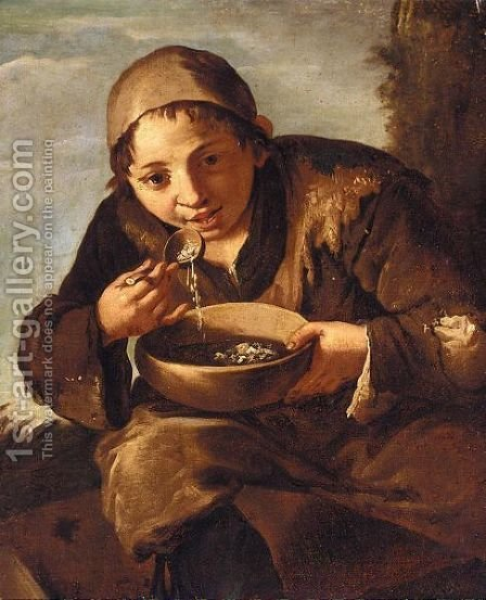A Seated Young Boy Eating Soup by (after) Giacomo Francesco Cipper - Reproduction Oil Painting