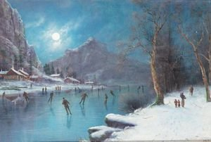 Famous paintings of Ice skating: Skaters On A Frozen Lake By Moonlight