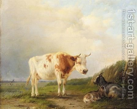 A Cow And Goats In A Field by (after) Eugene Joseph Verboeckhoven - Reproduction Oil Painting