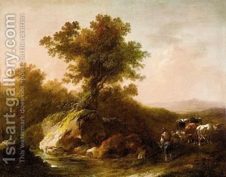 Landscapes With Herdsmen And Animals by (after) Loutherbourg, Philippe de - Reproduction Oil Painting