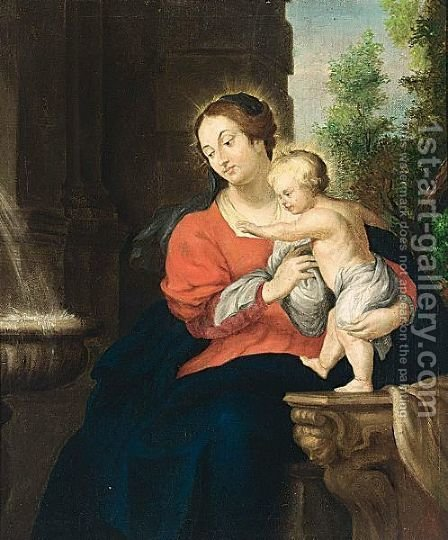Saint Mary And Child by (after) Sir Peter Paul Rubens - Reproduction Oil Painting