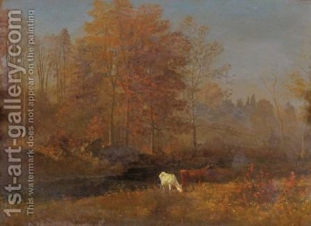 Landscape With Cows 2 by Albert Bierstadt - Reproduction Oil Painting
